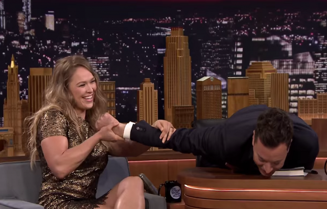 Ronda Rousey Demonstrates Infamous Armbar on Jimmy