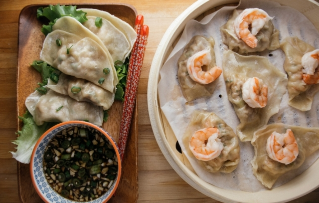 Shrimp Dumplings with Hot Sesame Oil Soy Sauce Recipe