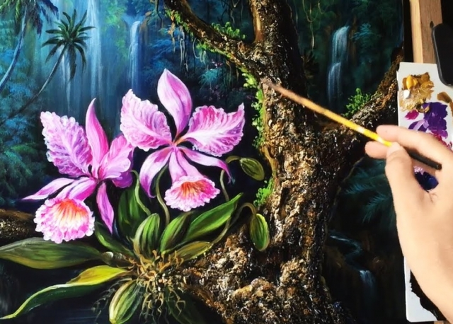 Orchid flowers in the tropical rainforests with Acrylic paints (40 x 50cm)